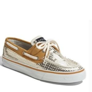 ■Sperry■ (6.5) Gold Sequin Topsider Shoe